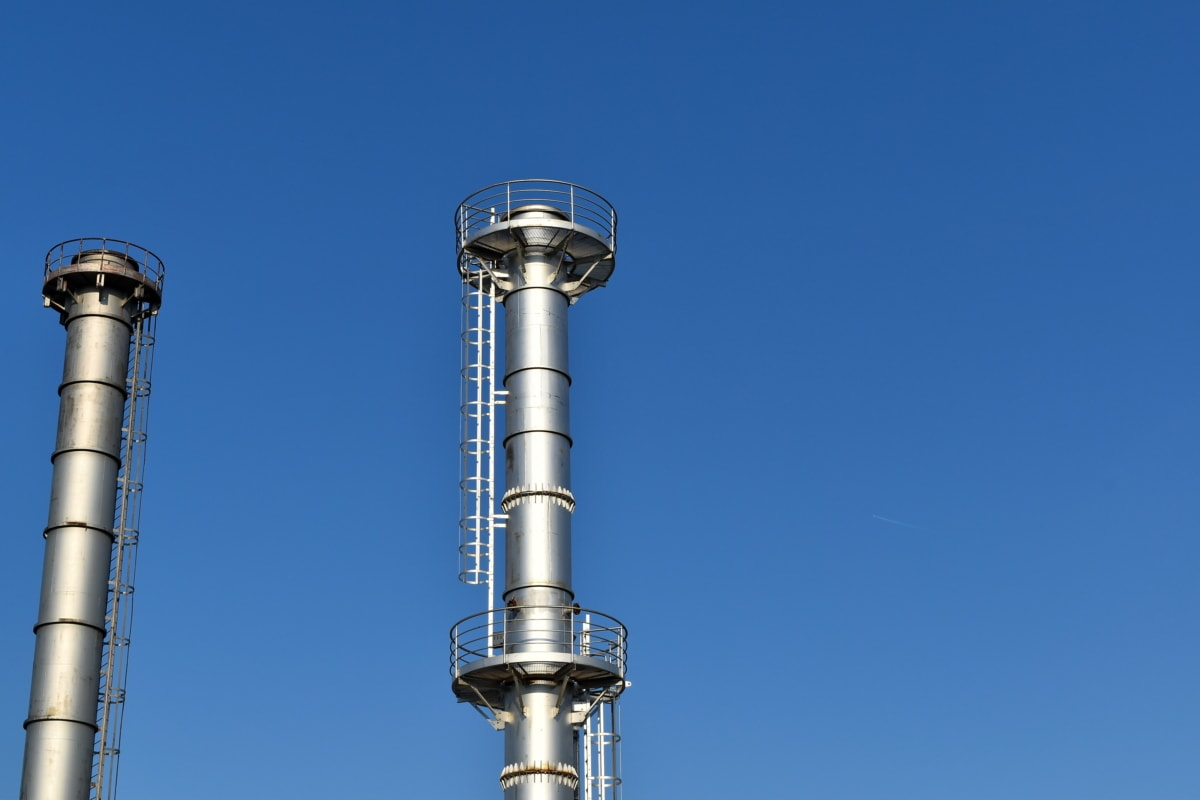 fabrikken, industri, raffinaderi, skorsten, stål, arkitektur, teknologi, udendørs