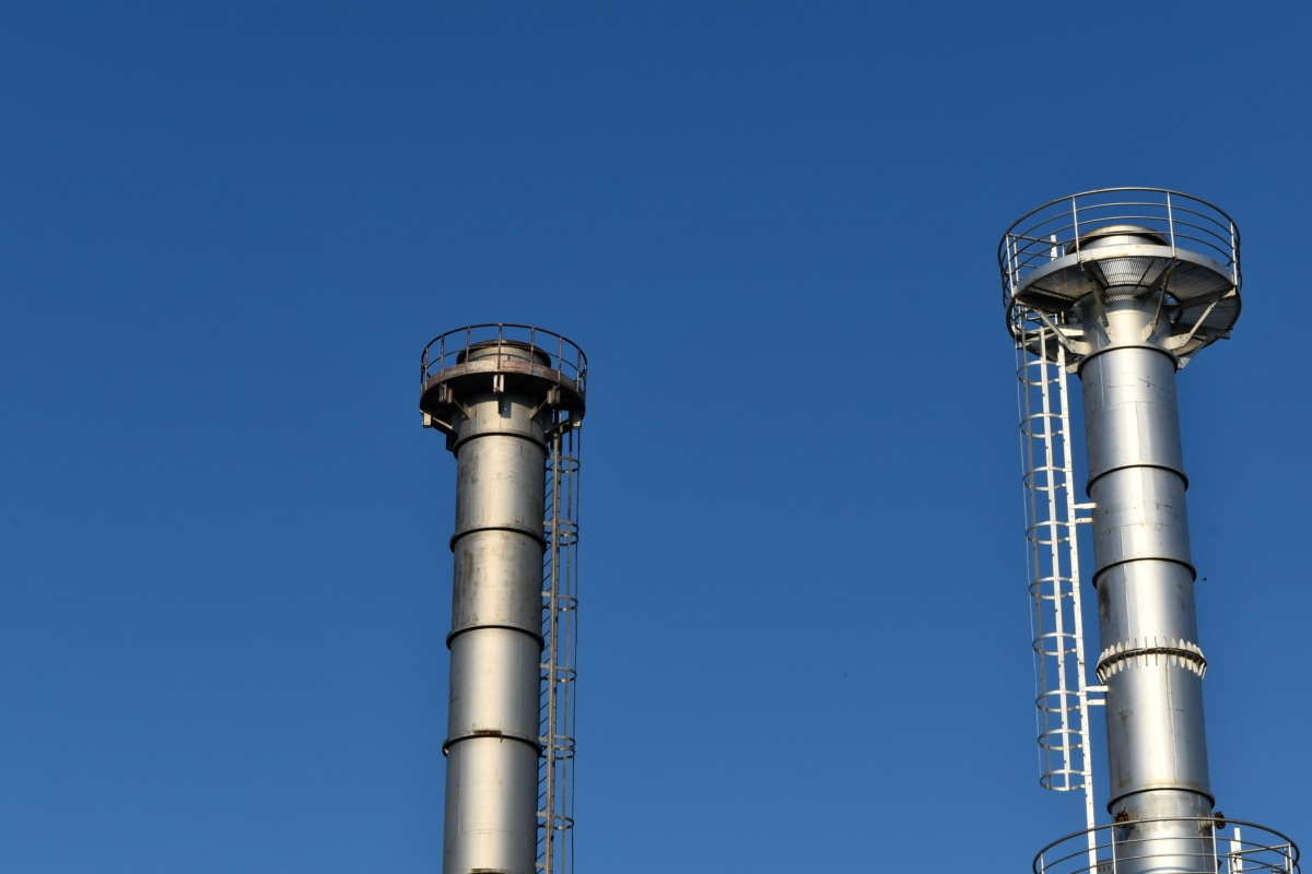 fabrikk, raffineriet, tårnet, skorstein, industri, rør, stål, teknologi