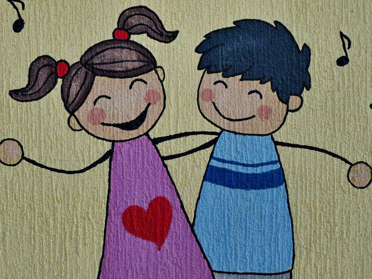 barndom, barn, design, graffiti, väggen, Vintage, stil, illustration
