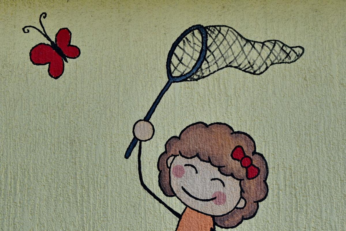 butterfly, childhood, girl, graffiti, wall, vintage, symbol, design
