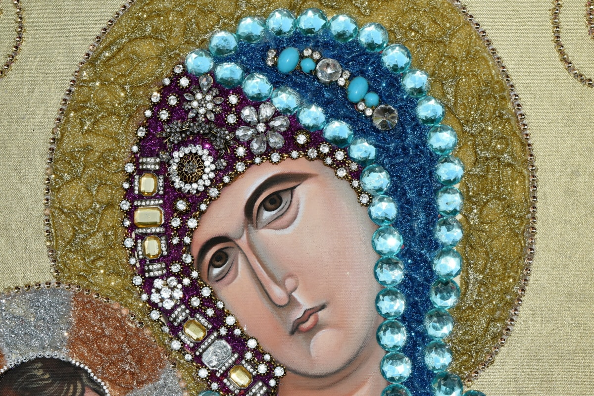 kršćanstvo, portret, religija, lice, oči, dekoracija, nakit, modni