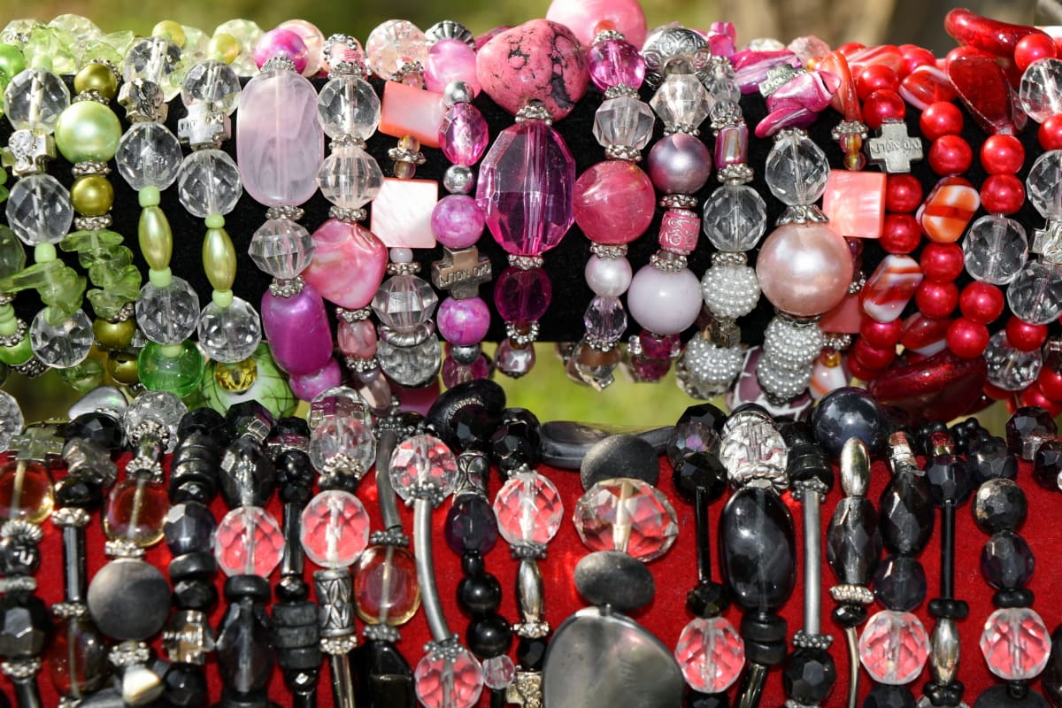 many, beads, market, jewelry, shining, color, decoration, collection