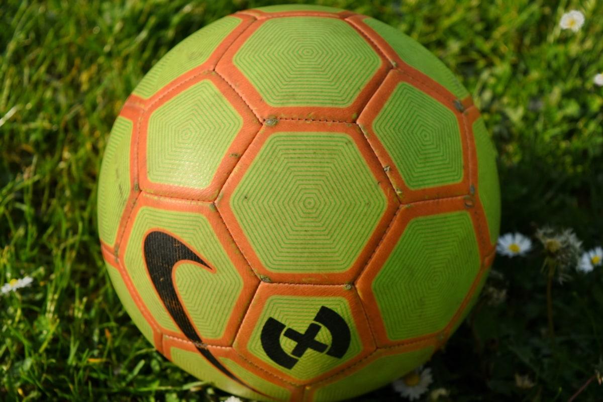 igra, sportski, nogometna lopta, nogomet, nogomet, oprema, cilj, trava