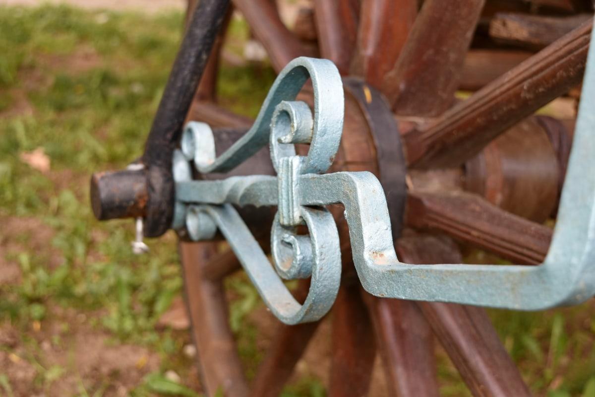 dispositivo, sujetador de, captura, rueda, antiguo, hierro, madera, antiguo