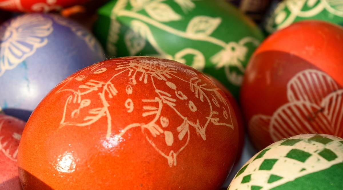 ตกแต่ง, อีสเตอร์, ไข่, ทำด้วยมือ, สีแดง, แมนดาริน, แบบดั้งเดิม, สี