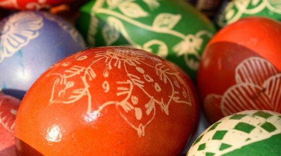 décoration, Pâques, oeuf, à la main, rouge, Mandarin, traditionnel, Couleur