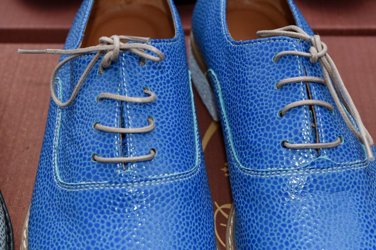 kék, bőr, cipő, lábbeli, ruházat, cipő, divat, alkalmi