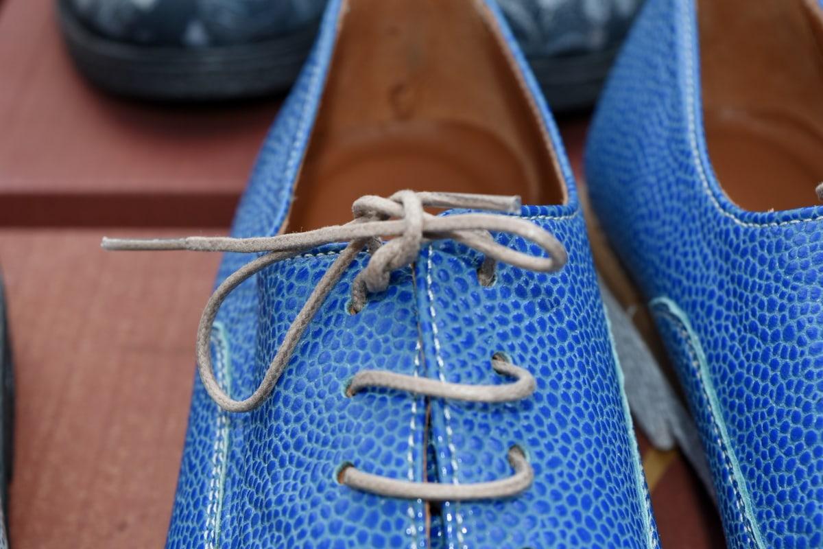 Skosnöre, blå, skor, mode, läder, handgjorda, skon, fritid