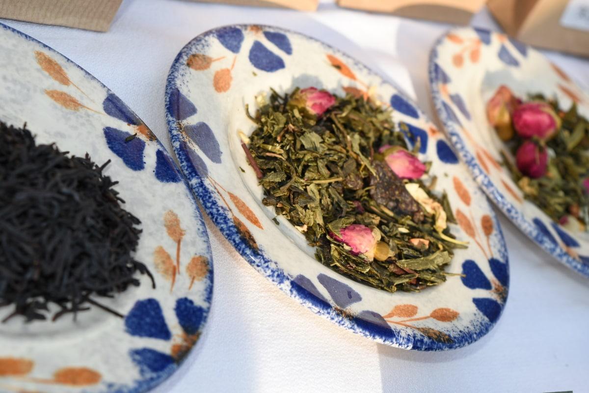 dry, spice, tea, herb, plate, organic, nutrient