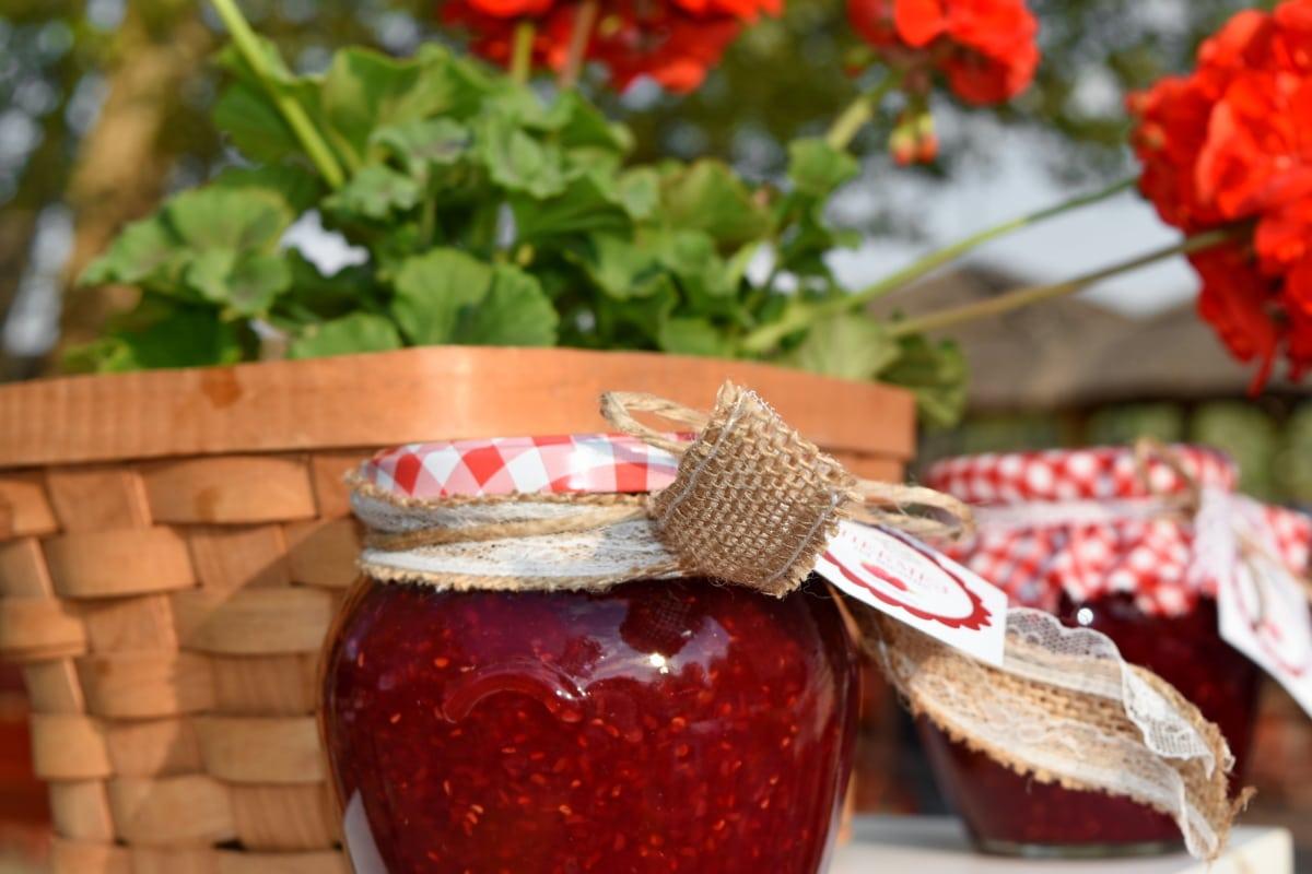 jam, jar, organic, traditional, wicker basket, food, wood, glass