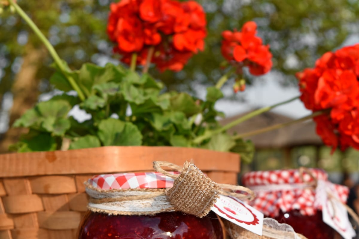 jam, jar, still life, wicker basket, flower, outdoors, leaf, decoration