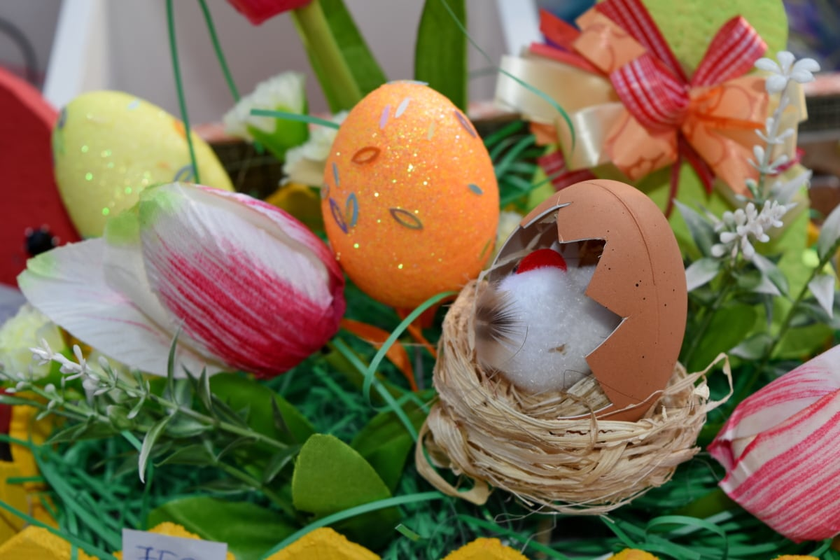 decoration, gifts, still life, easter, basket, nature, egg, leaf