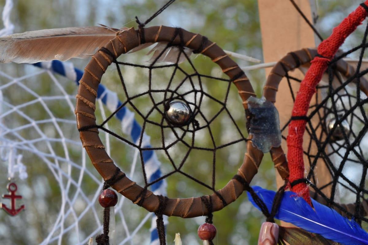 circle, handmade, netting, pearl, shape, outdoors, web, recreation