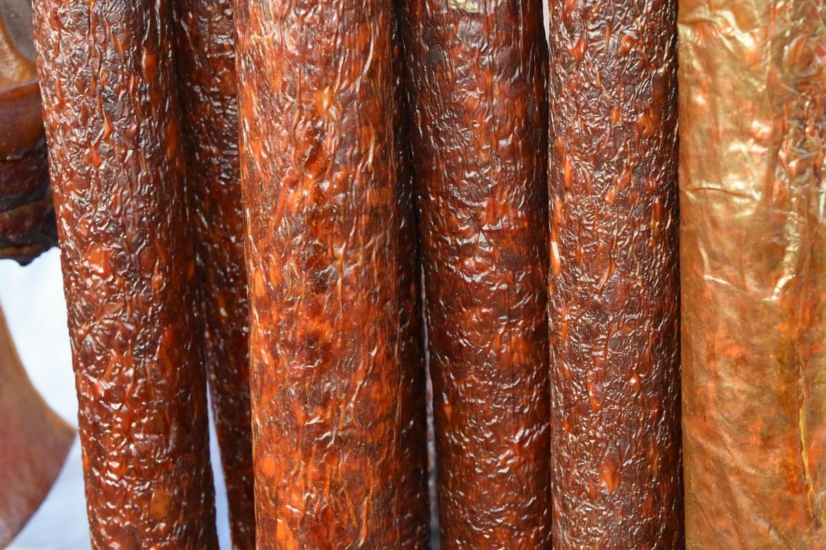 industrija, svinjetina, kobasica, govedina, pogled iz blizine, tradicionalno, vertikalna, tekstura