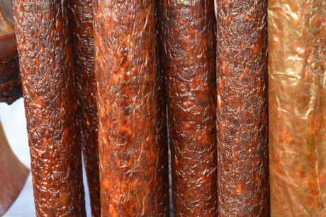 industry, pork, sausage, beef, upclose, traditional, vertical, texture