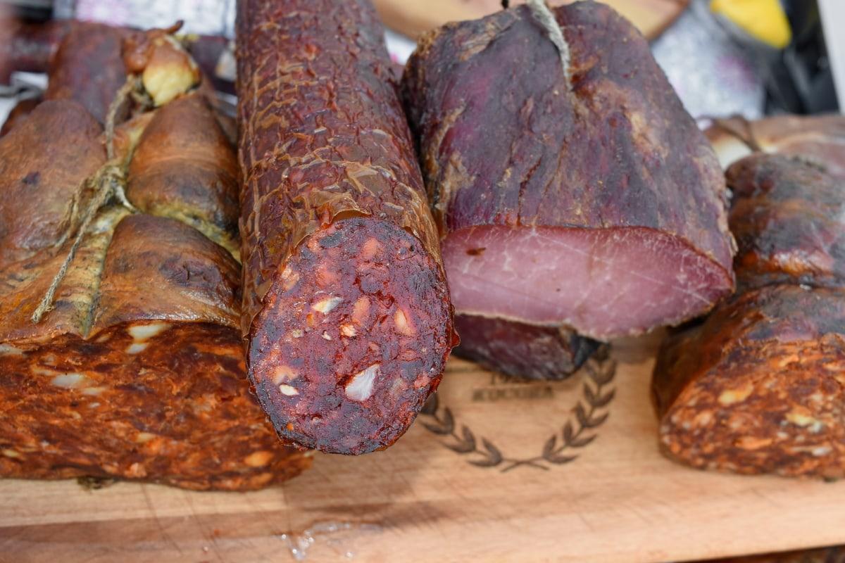 lækker, håndlavede, økologisk, svinekød, kød, mad, middag, måltid