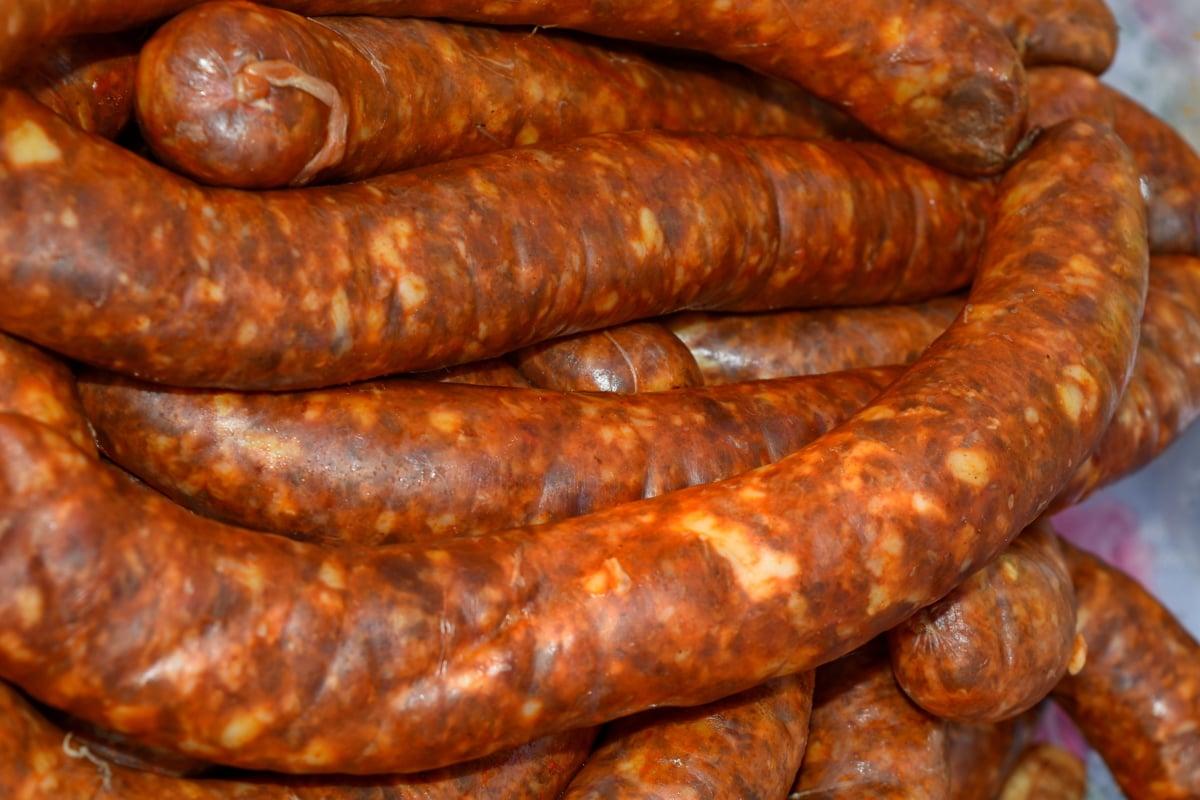 handmade, organic, raw meat, sausage, food, meat, root, pork