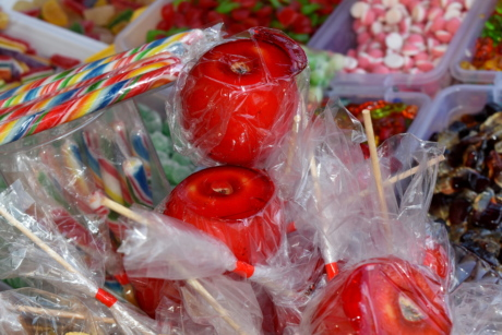 apple, candy, shop, food, color, glass, plastic, sugar