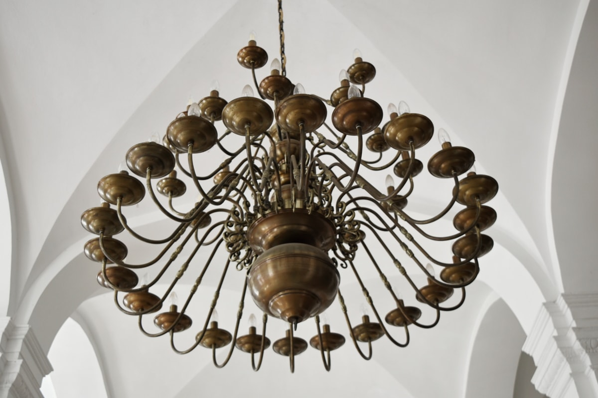 arch, brass, ceiling, chandelier, indoors, decoration, architecture, inside