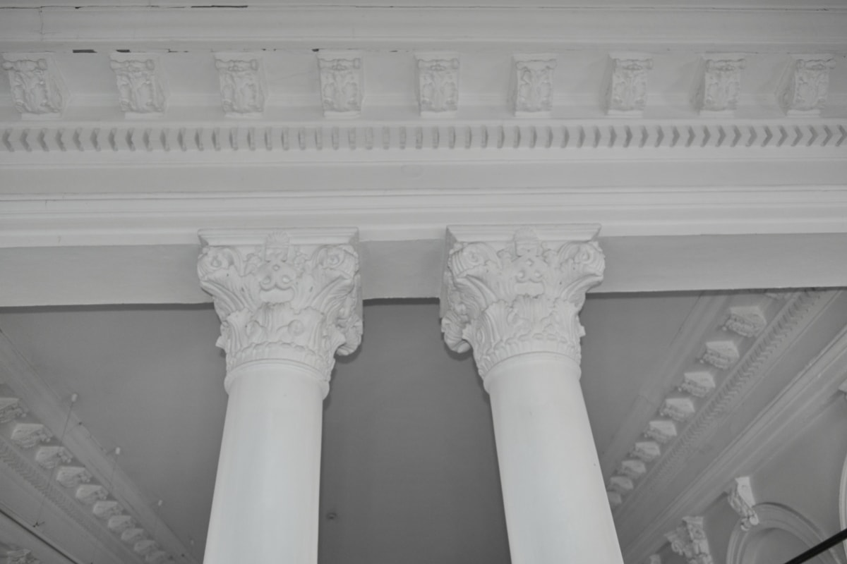 Черно и бяло, вътрешна украса, архитектура, сграда, колона, класически, мрамор, скулптура