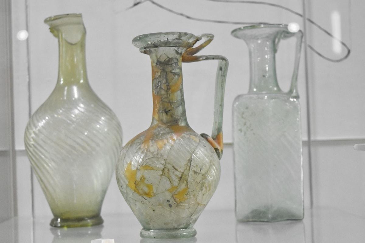 medieval, museum, vase, bottle, container, glass, jar, pitcher