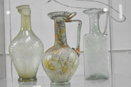 medieval, museum, vase, bottle, container, glass, jar, pitcher