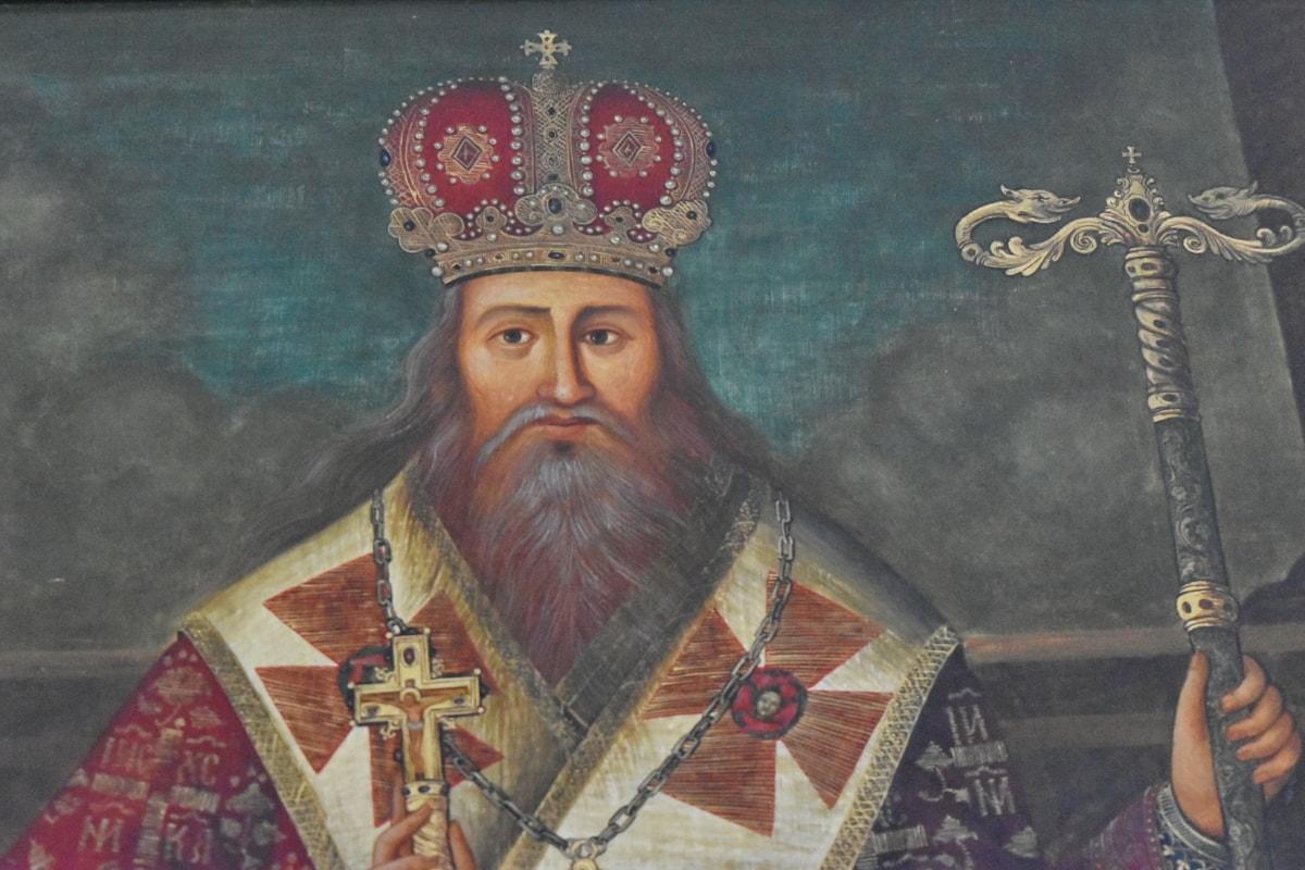 stående, prest, Serbia, linjalen, maleri, religion, folk, mann