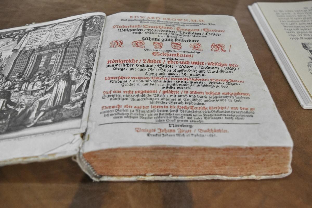 Muzej, dokument, knjiga, papir, tekst, stranica, ispis, obrazovanje