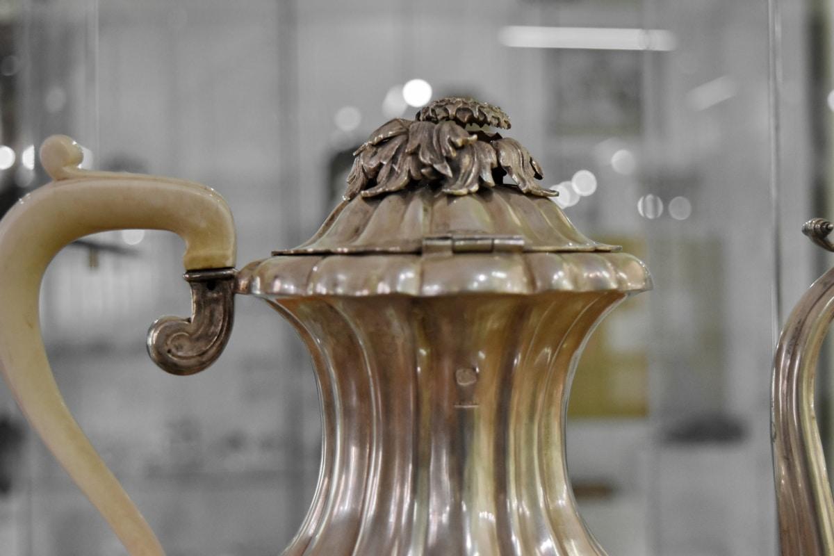 latão, metal, arremessador, bule de chá, luxo, arquitetura, cidade, decoração