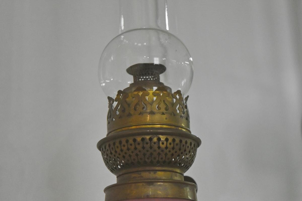 античност, месинг, стъкло, история, лампа, Антик, стар, натюрморт