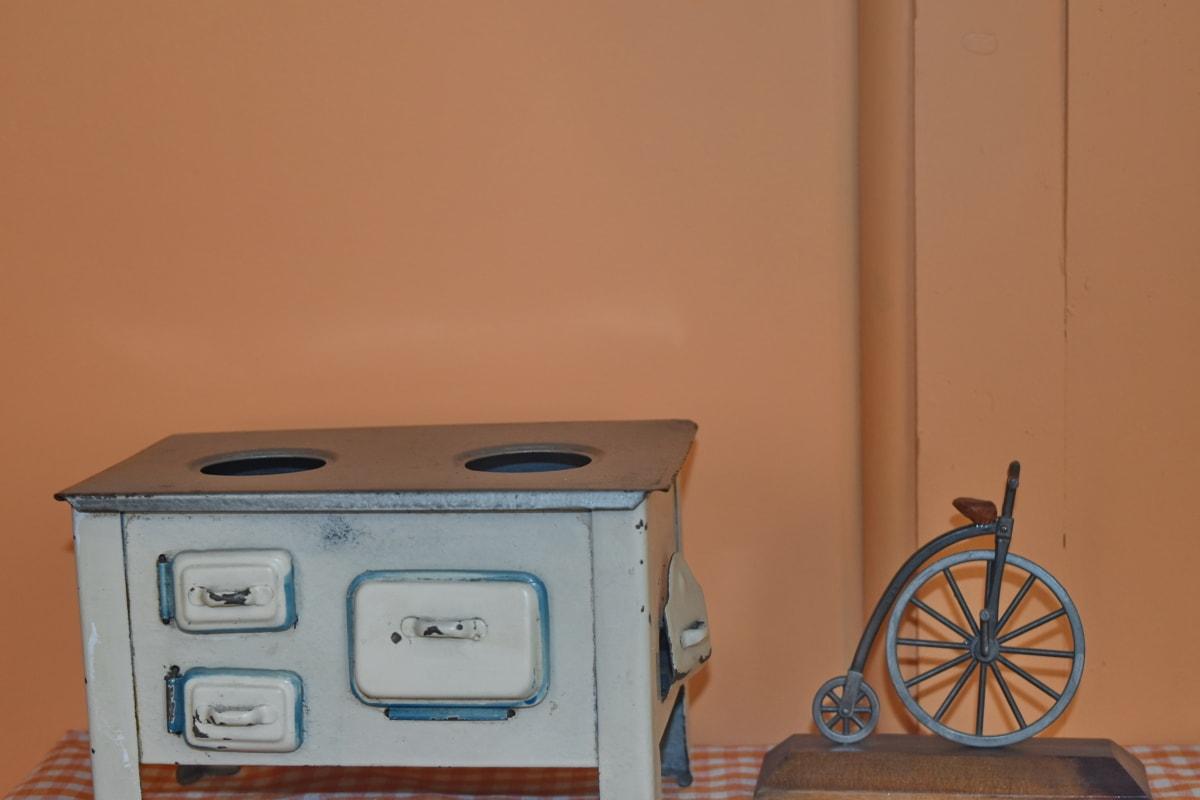 antiquity, metal, stove, toys, toyshop, furniture, indoors, room