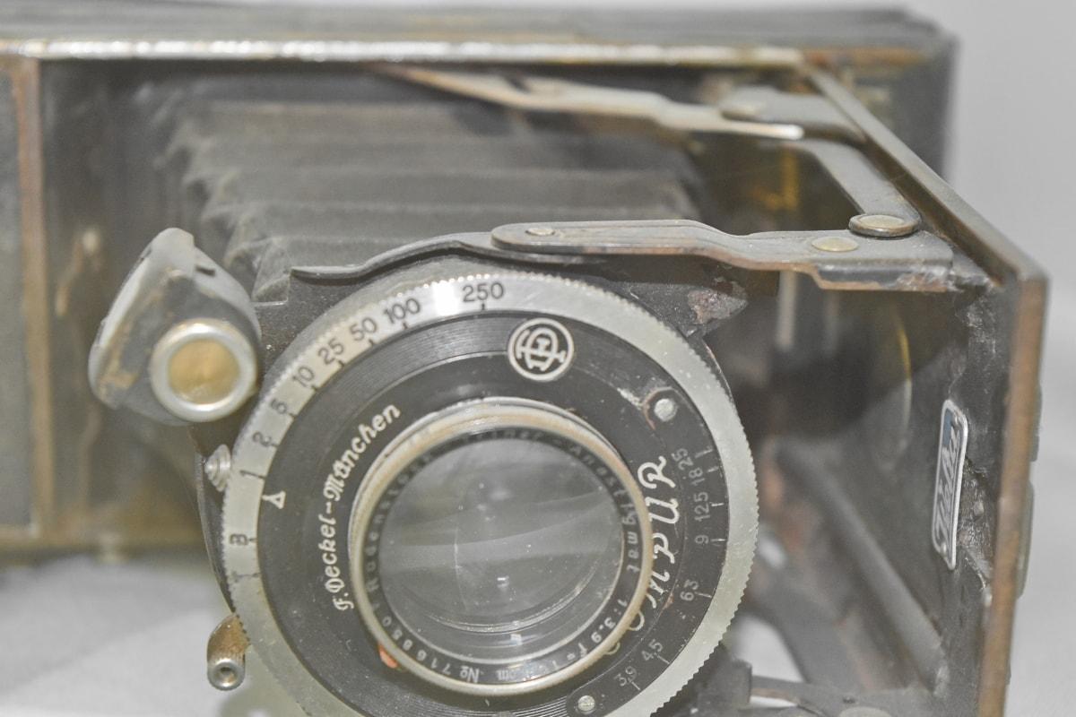 kamera, kézikönyv, régi, mechanizmus, lencse, eszköz, berendezések, antik