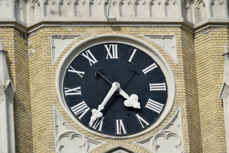 catholic, church tower, landmark, time, hour, analog clock, clock, hand, minute, architecture