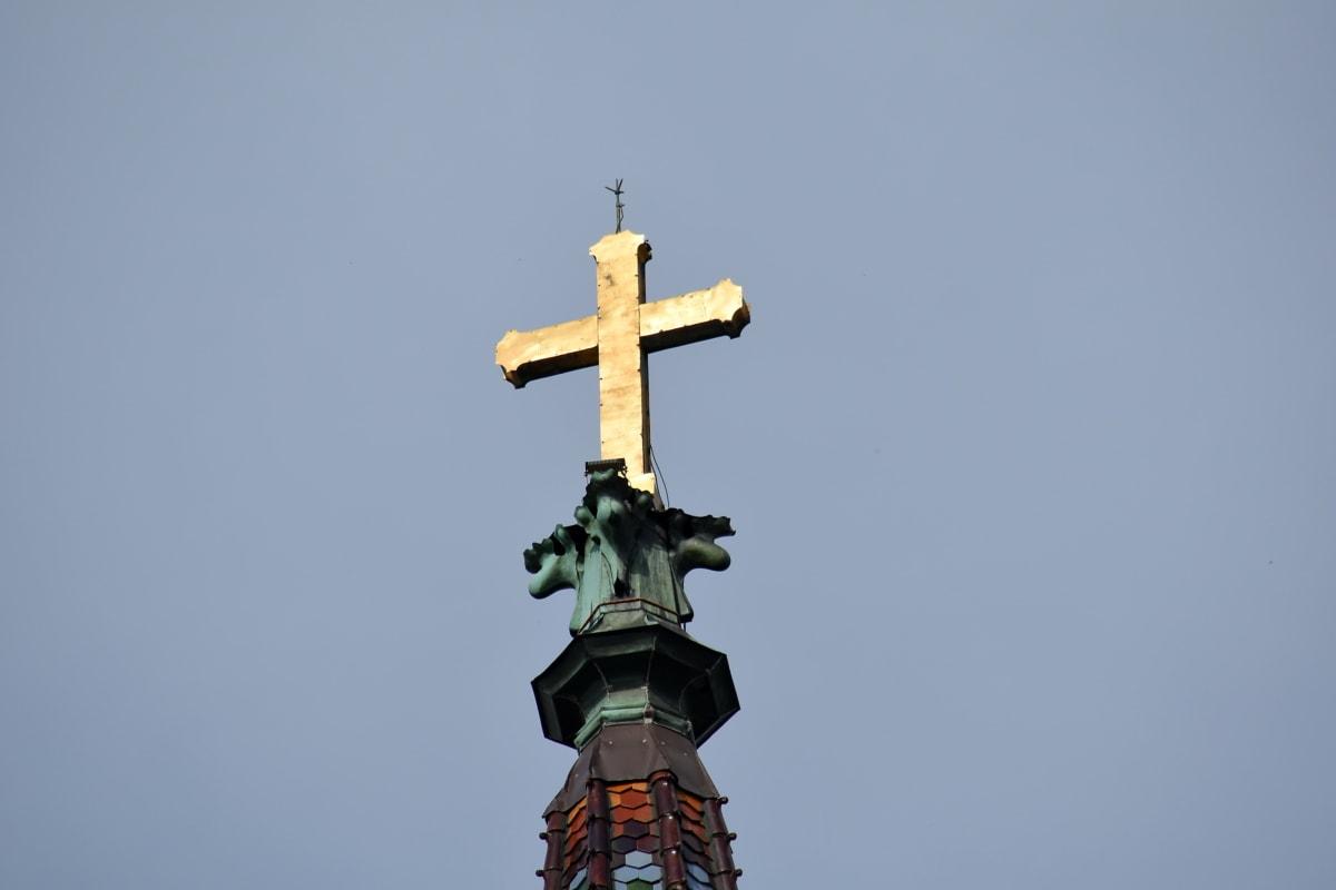 náboženství, architektura, kříž, sochařství, venku, denní světlo, kostel, věž, spiritualita, staré