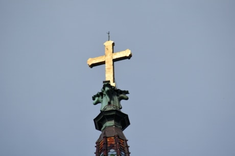 religion, architecture, cross, sculpture, outdoors, daylight, church, tower, spirituality, old