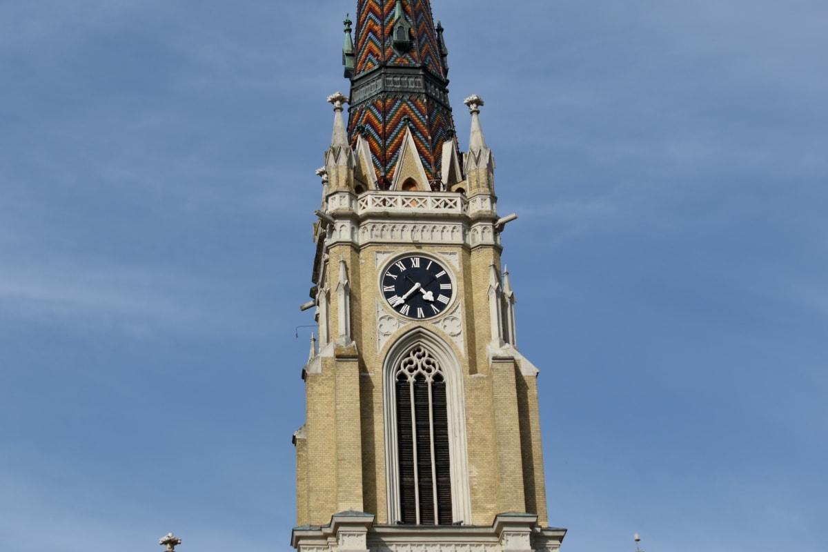 забележителност, кула, сграда, църква, часовник, архитектура, на открито, религия, стар, древен