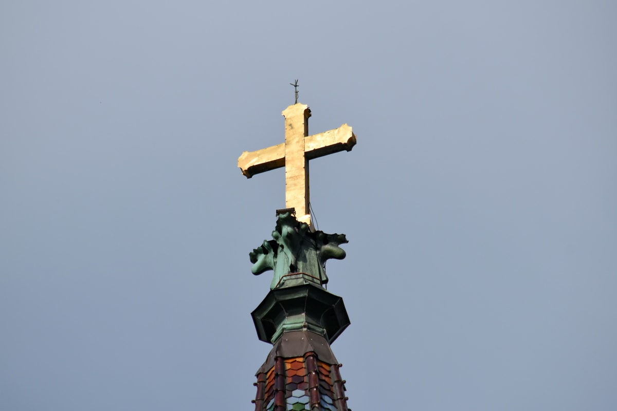 cross, gold, religion, architecture, sculpture, church, daylight, outdoors, spirituality, tower