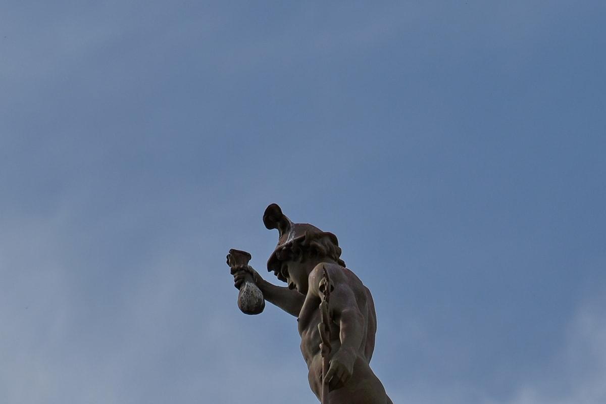 art, blue sky, bronze, statue, outdoors, sculpture, daylight, man, nature, cloud
