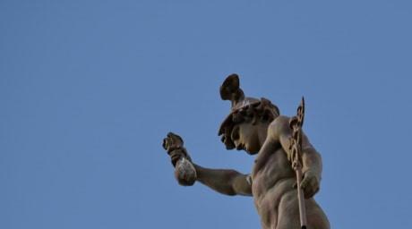 antique, antiquity, blue sky, bronze, statue, sculpture, outdoors, daylight, art, architecture