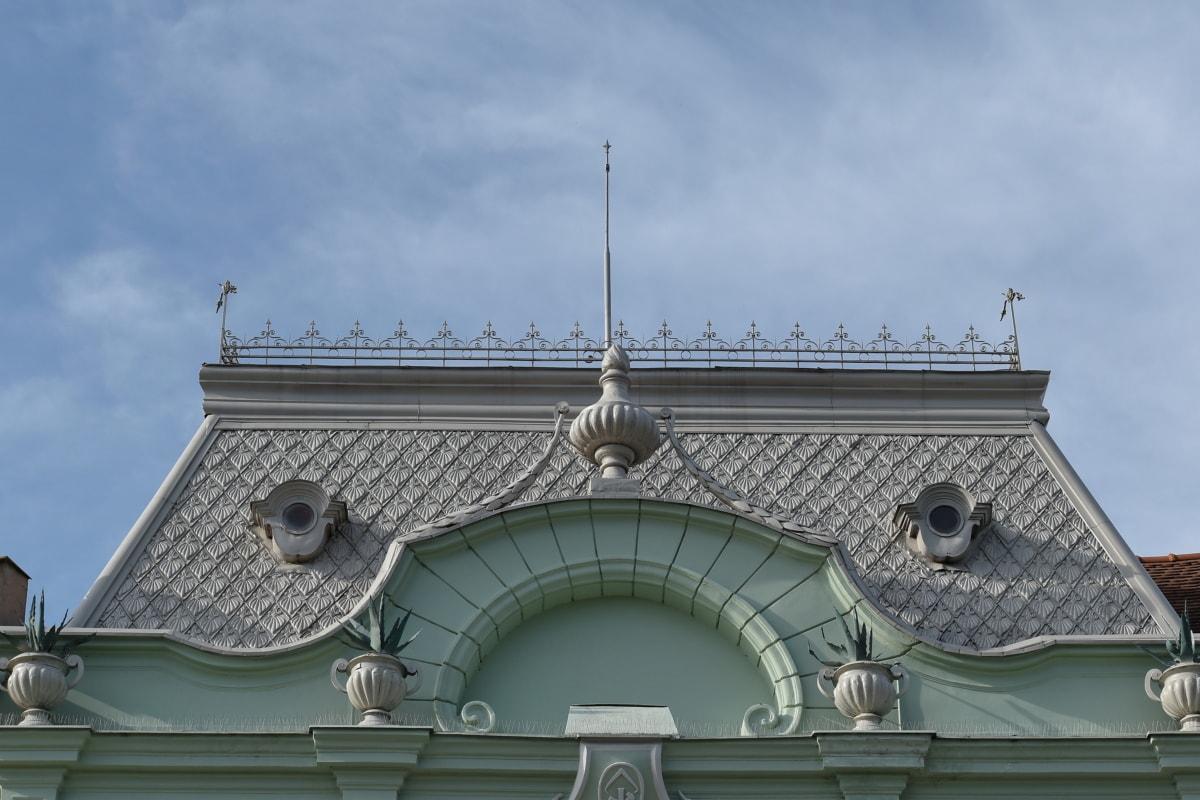 barokk, Múzeum, tető, homlokzat, építészet, épület, régi, kultúra, hagyományos, szobrászat