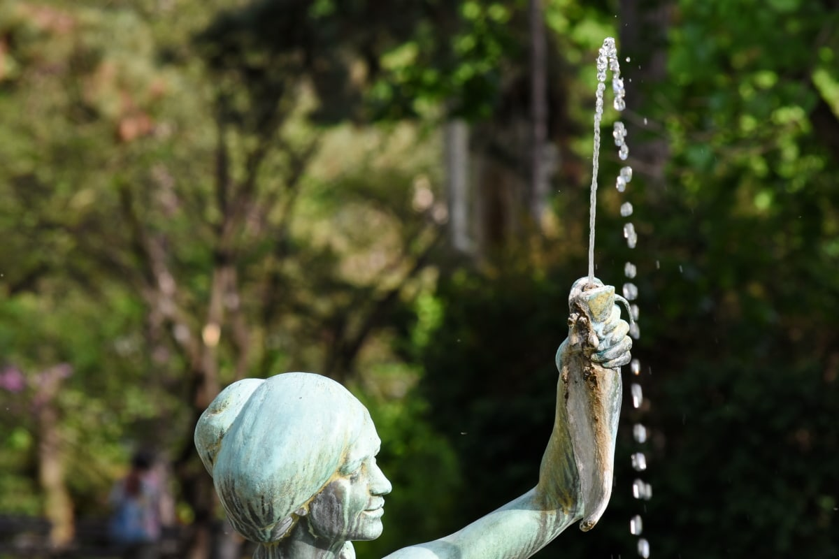 bronze, fish, fountain, park, statue, woman, nature, garden, flower, outdoors