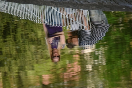 blurry, family, people, reflection, water, outdoors, recreation, leisure, park, man