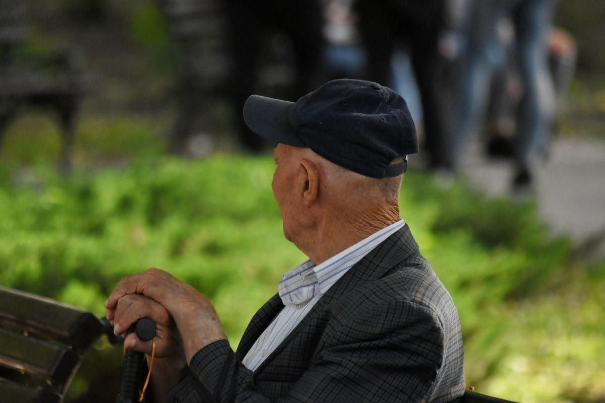 ældre, hat, mand, gamle, parkere, sideudsigt, folk, udendørs, Portræt, rekreation