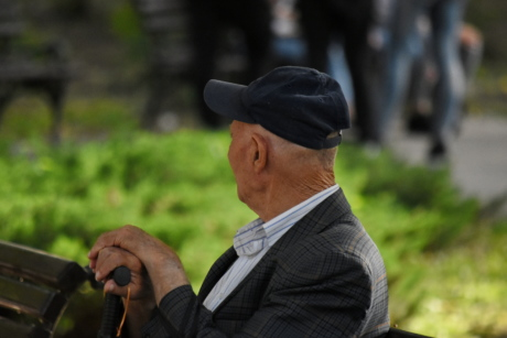 elderly, hat, man, old, park, side view, people, outdoors, portrait, recreation