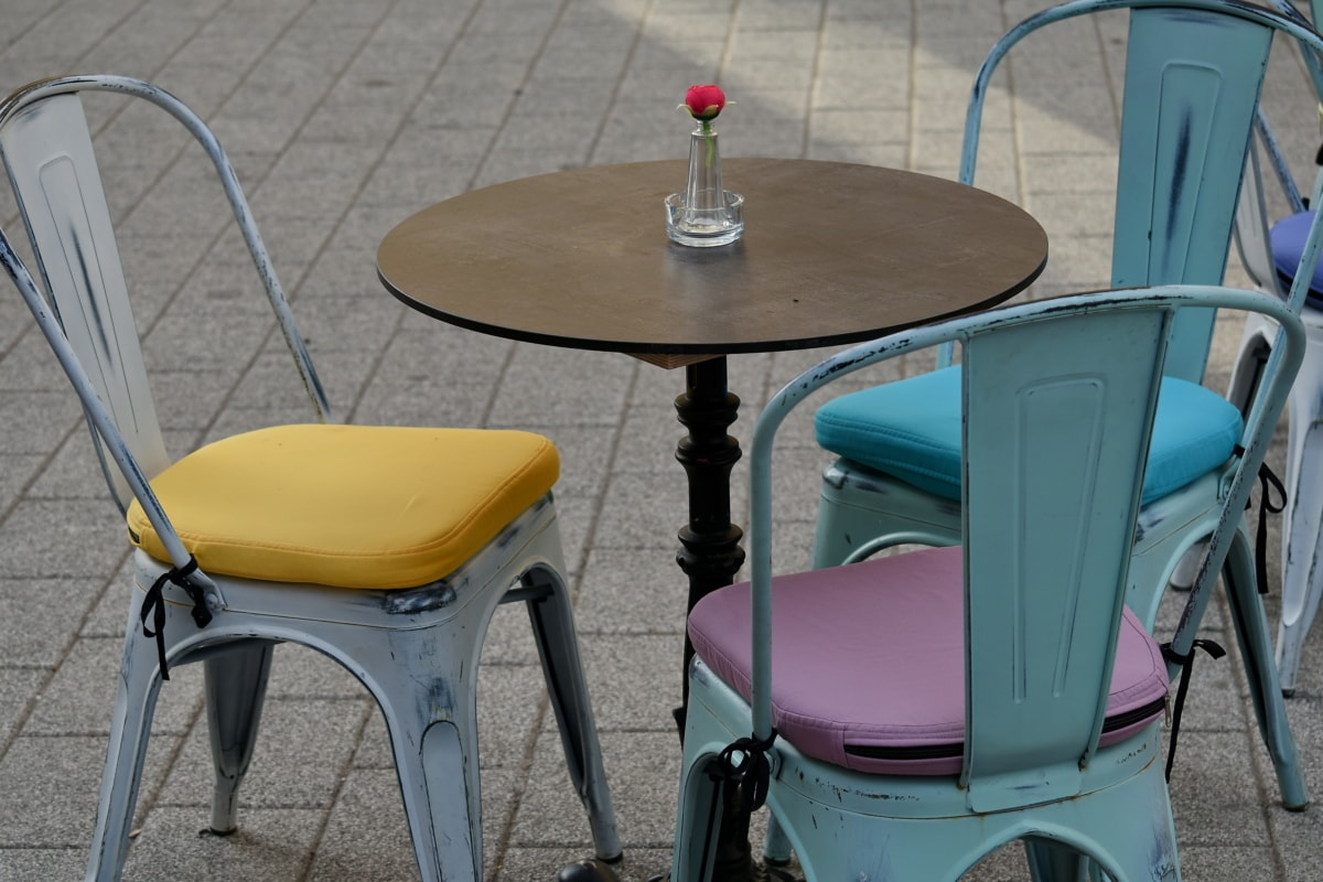 สตรีท, ตาราง, เก้าอี้, สตูล, ที่นั่ง, เฟอร์นิเจอร์, ว่างเปล่า, ร่วมสมัย, ในที่ร่ม, ไม้