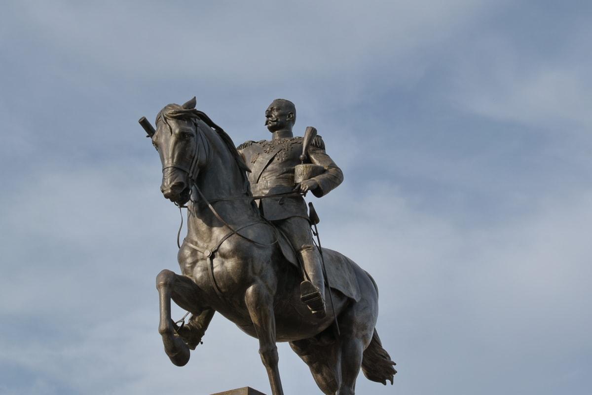 bronze, cavalo, Rei, Sérvia e Montenegro, pedestal, Monumento, escultura, estátua, luz do dia, ao ar livre