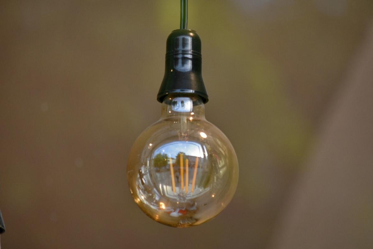glass, light bulb, lamp, bulb, blur, light, reflection, still life, indoors, illuminated