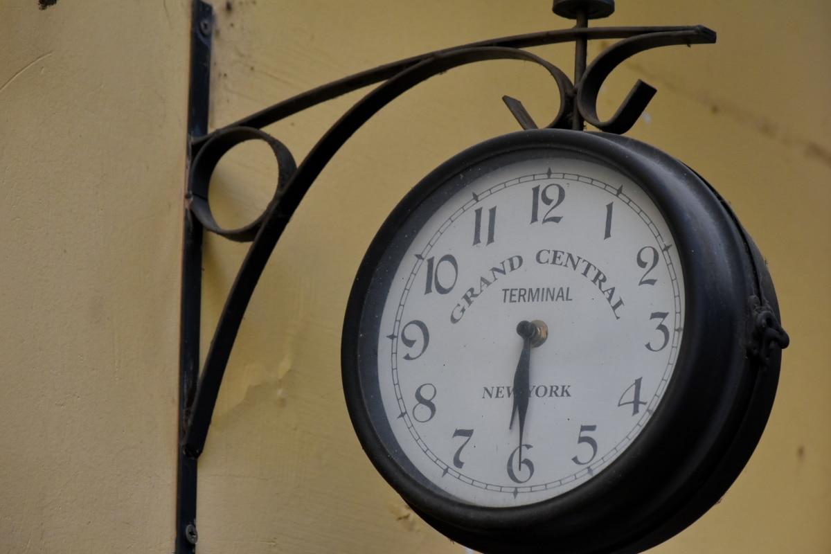 analoge klok, gietijzer, decoratie, muur, tijd, klok, minuut, uurwerk, timer, uur