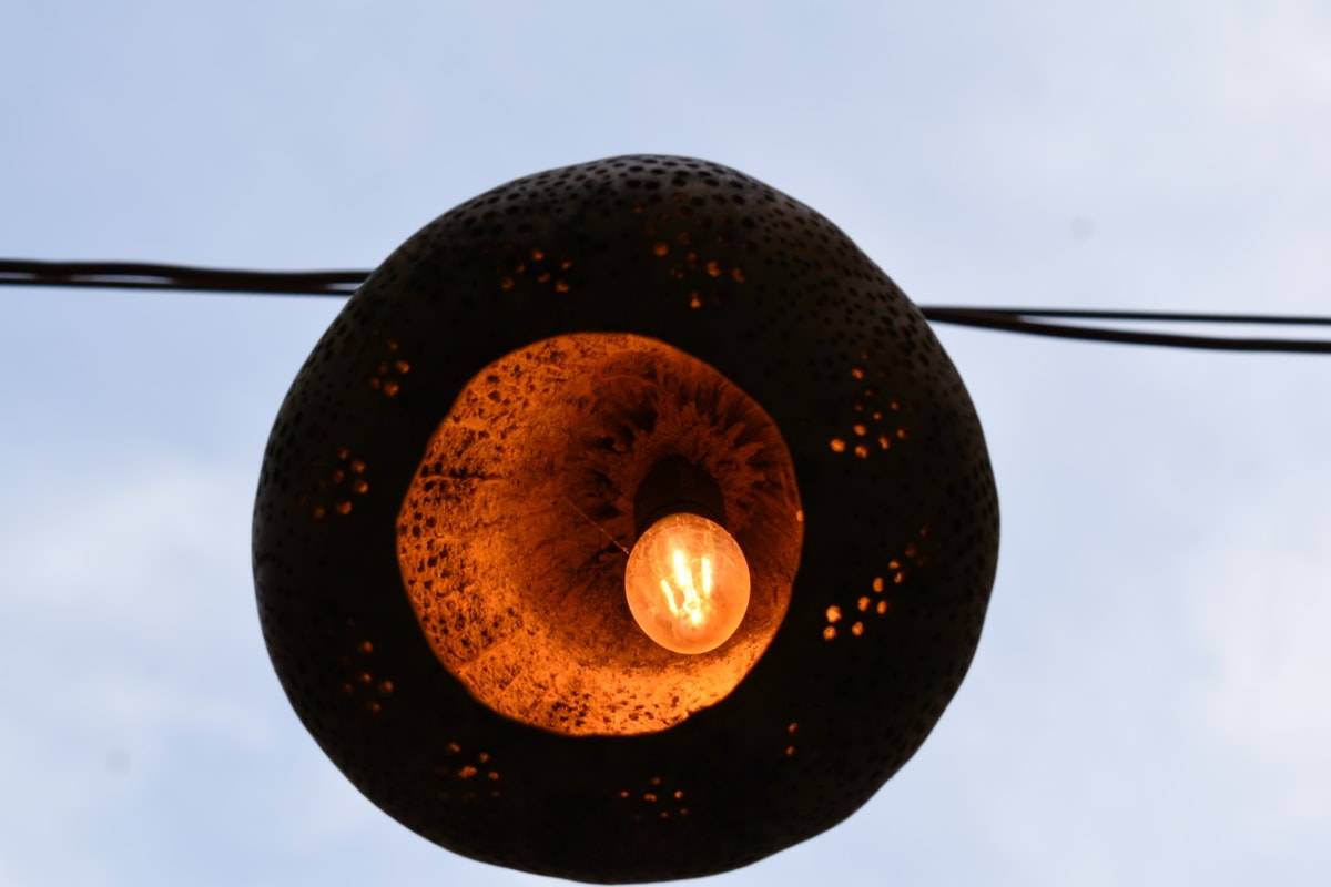 blue sky, electricity, lamp, shadow, still life, light, hanging, outdoors, summer, bright
