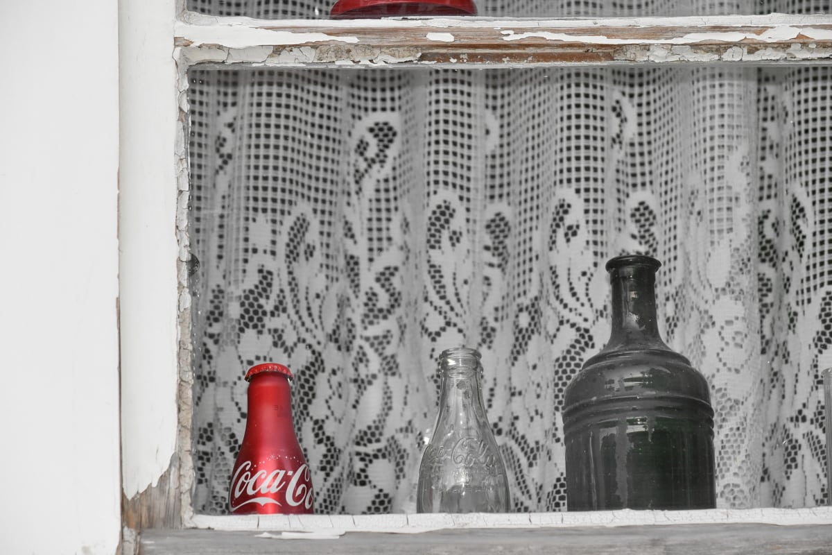 still life, windows, glass, bottle, container, indoors, inside, vintage, wood, wall
